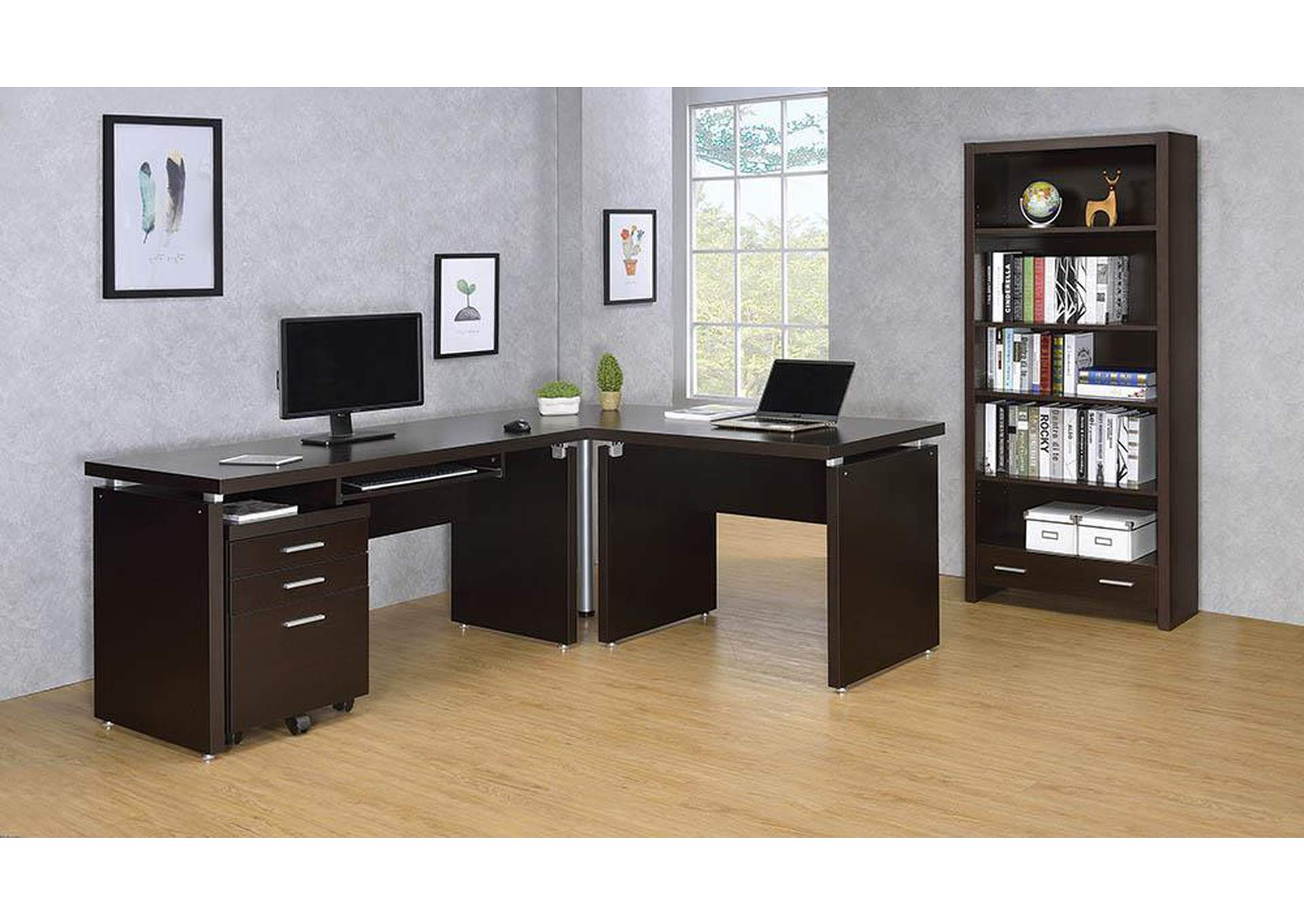 Cappuccino Skylar Contemporary Three-Drawer File Cabinet,Coaster Furniture