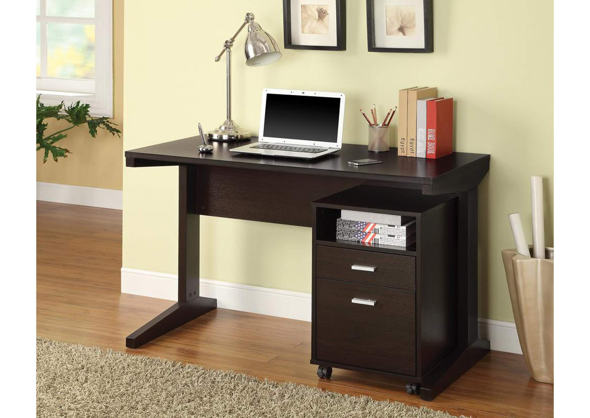 Cappiccino Office Desk & File Cabinet,Coaster Furniture