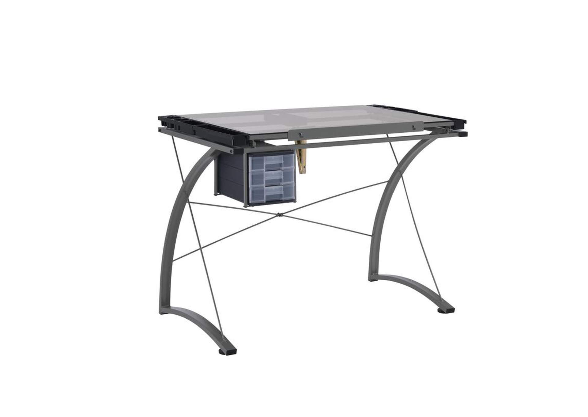 Granite Gray Contemporary Glass Top Drafting Desk,Coaster Furniture