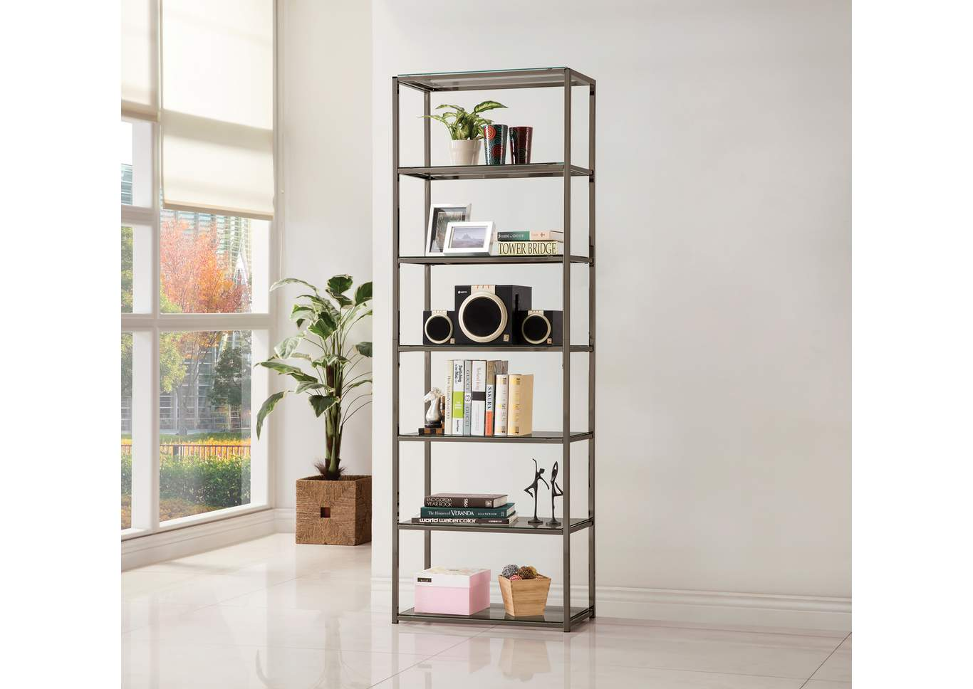 Tide Contemporary Black Nickel Six-Tier Bookcase,Coaster Furniture