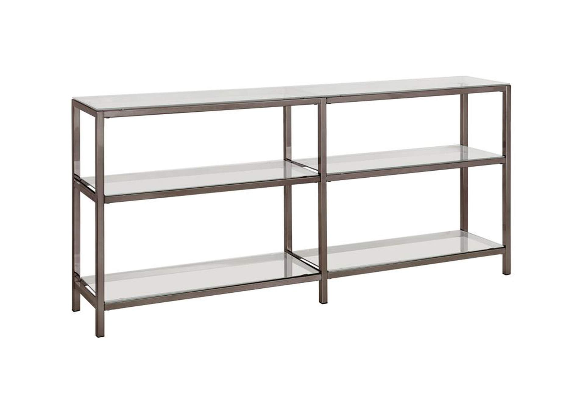 Swiss Coffee Contemporary Black Nickel Two-Tier Double Bookcase,Coaster Furniture