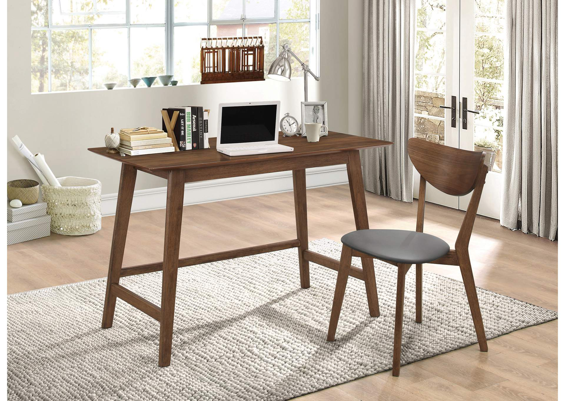 Image of: Swirl Mid Century Modern Walnut Desk And Chair Set Best Buy Furniture And Mattress