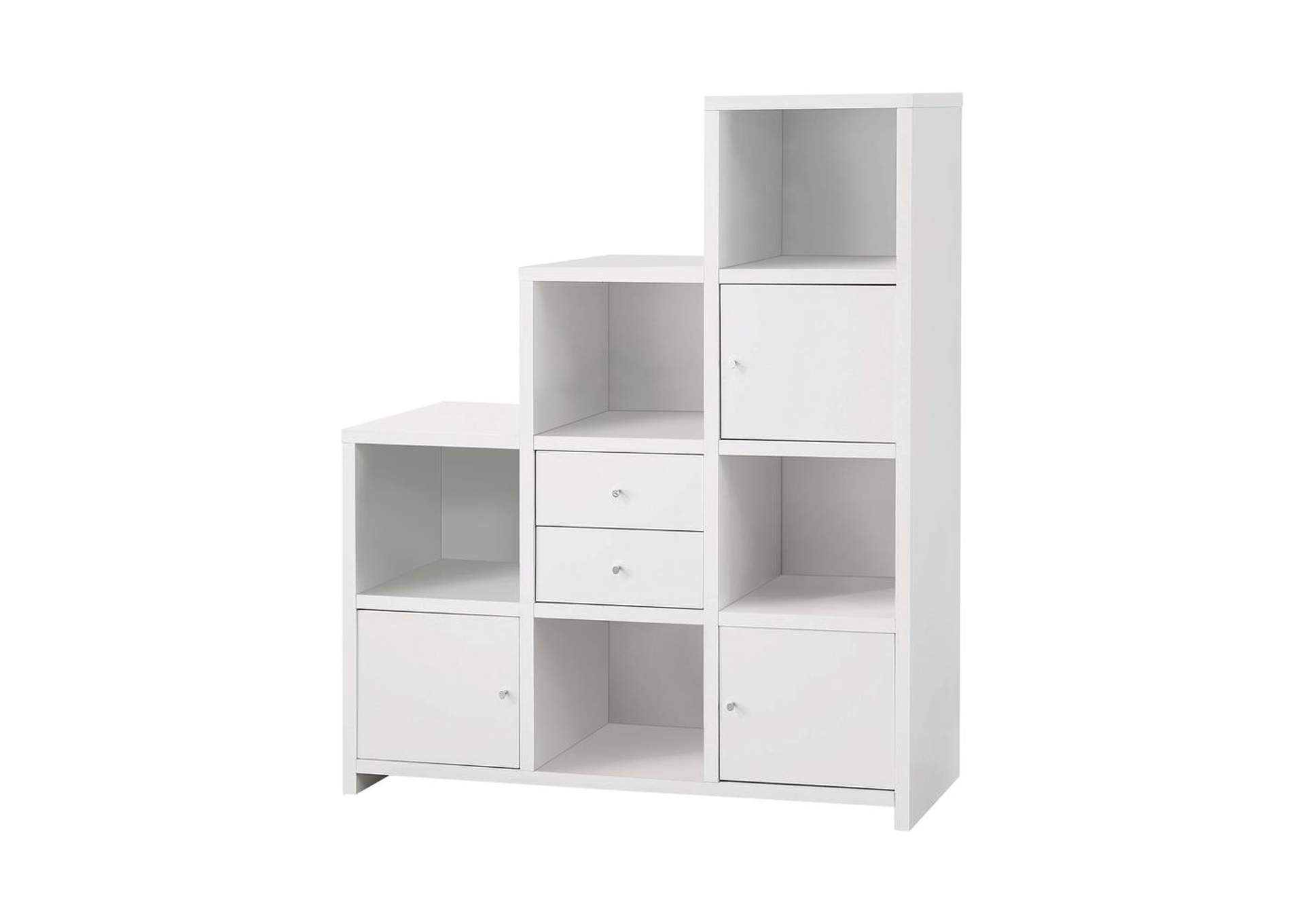 White Contemporary White Bookcase,Coaster Furniture