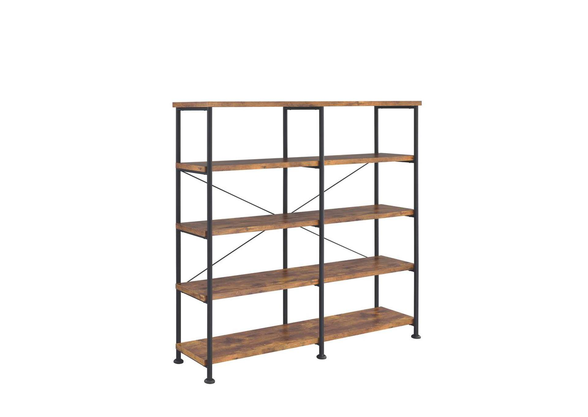 Antique Nutmeg Barritt Industrial Antique Nutmeg Double-Wide Bookcase,Coaster Furniture
