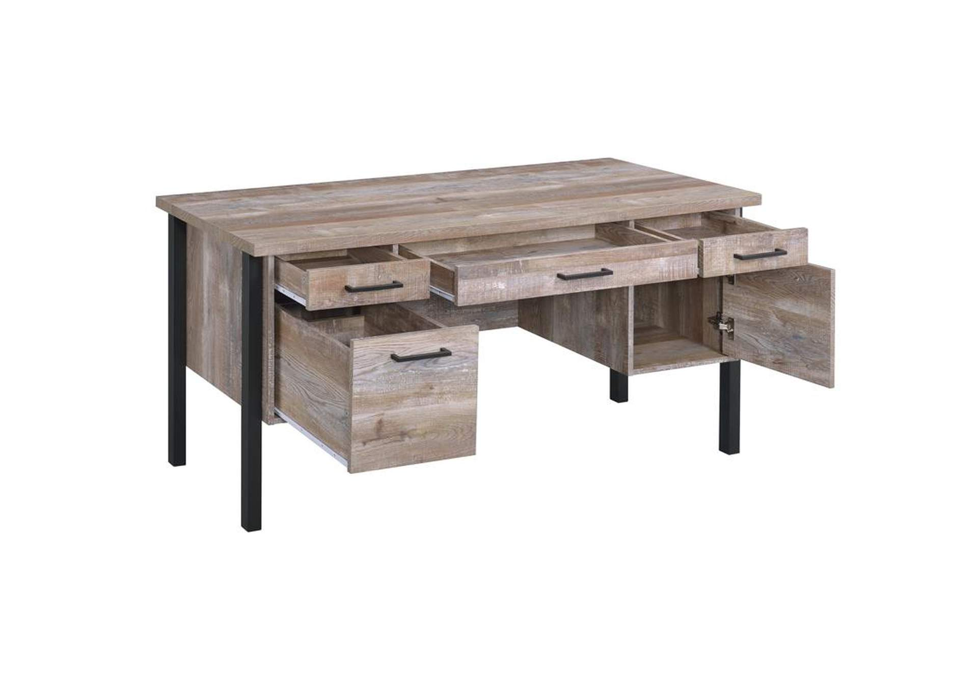 Weathered Oak Samson Rustic Weathered Oak Office Desk,Coaster Furniture