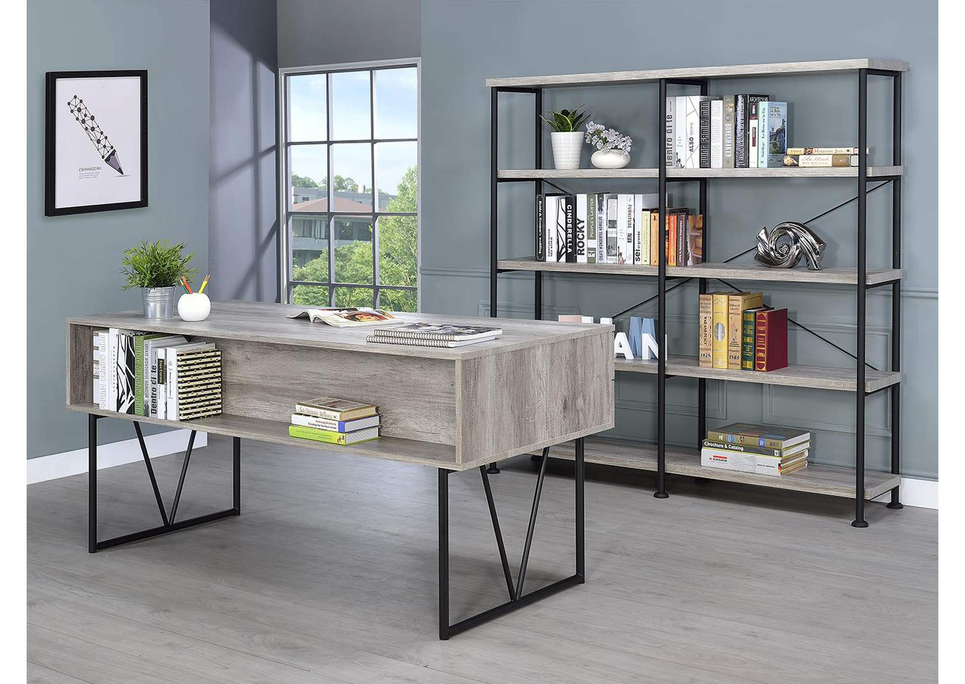 Grey Driftwood Industrial Grey Driftwood Writing Desk,Coaster Furniture