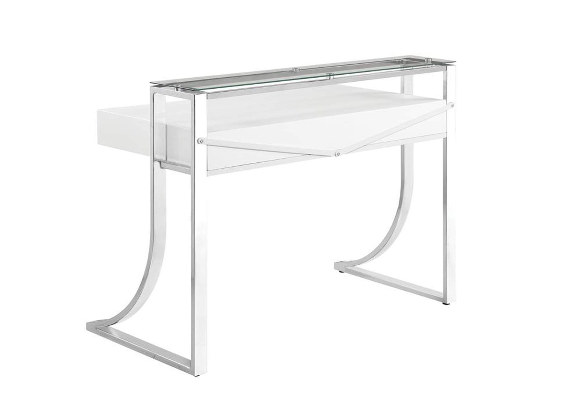 White High Gloss Contemporary Glossy White Writing Desk,Coaster Furniture