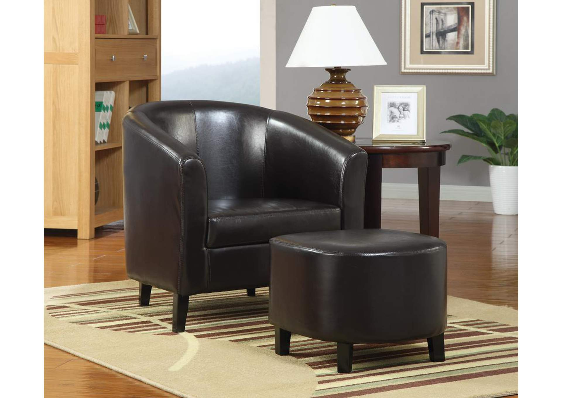 Black Leather Accent Chair and Ottoman,Coaster Furniture