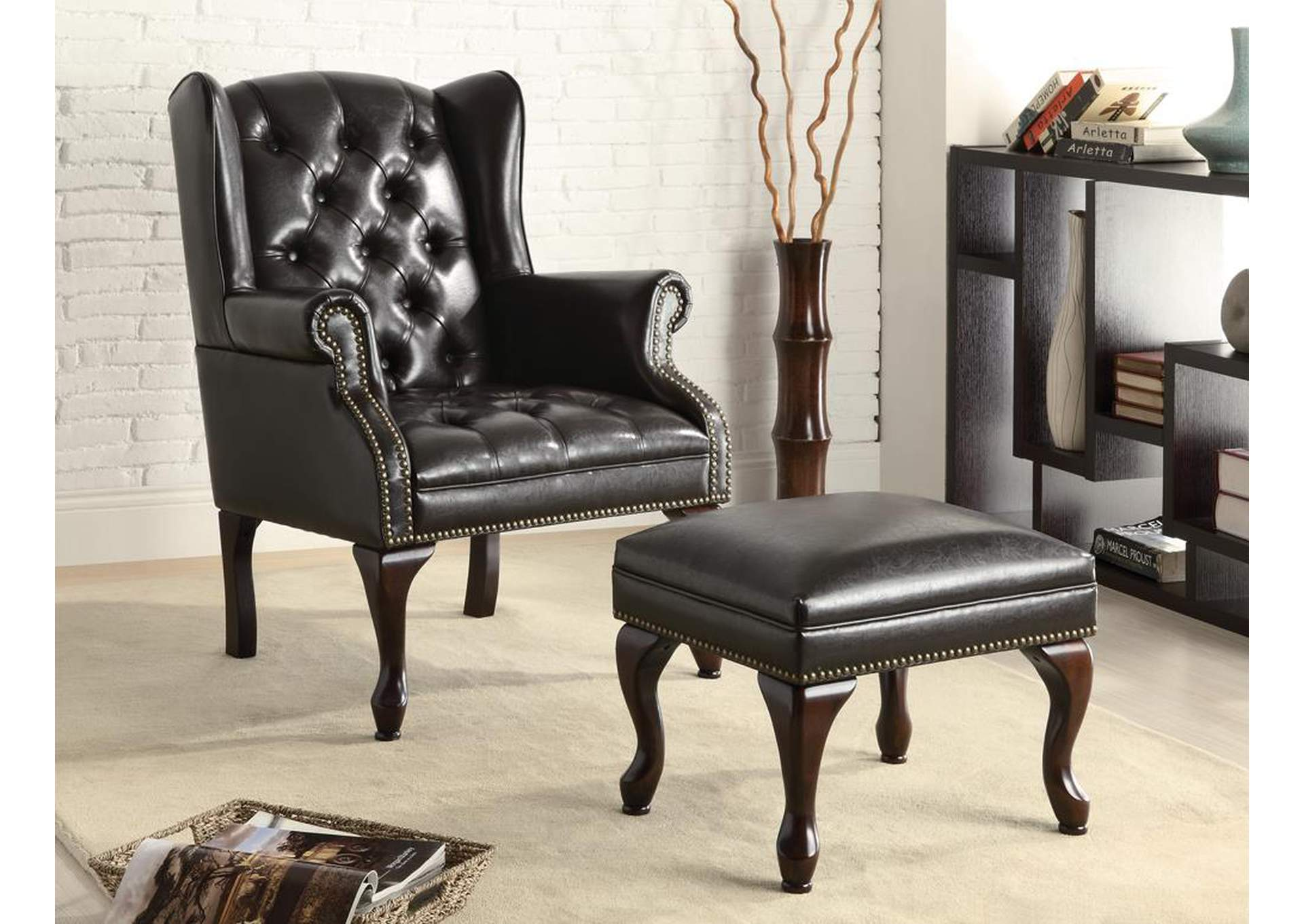 Espresso Traditional Espresso Accent Chair and Ottoman,Coaster Furniture