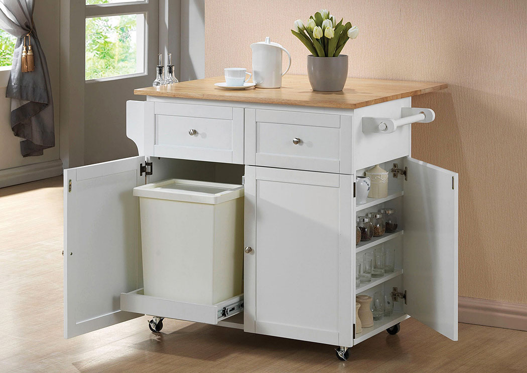 Natural Brown/ White Transitional Brown and Kitchen Cart,Coaster Furniture