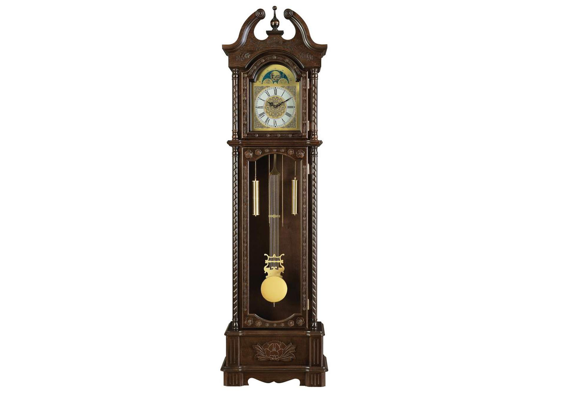 English Walnut Traditional Brown Grandfather Clock,Coaster Furniture