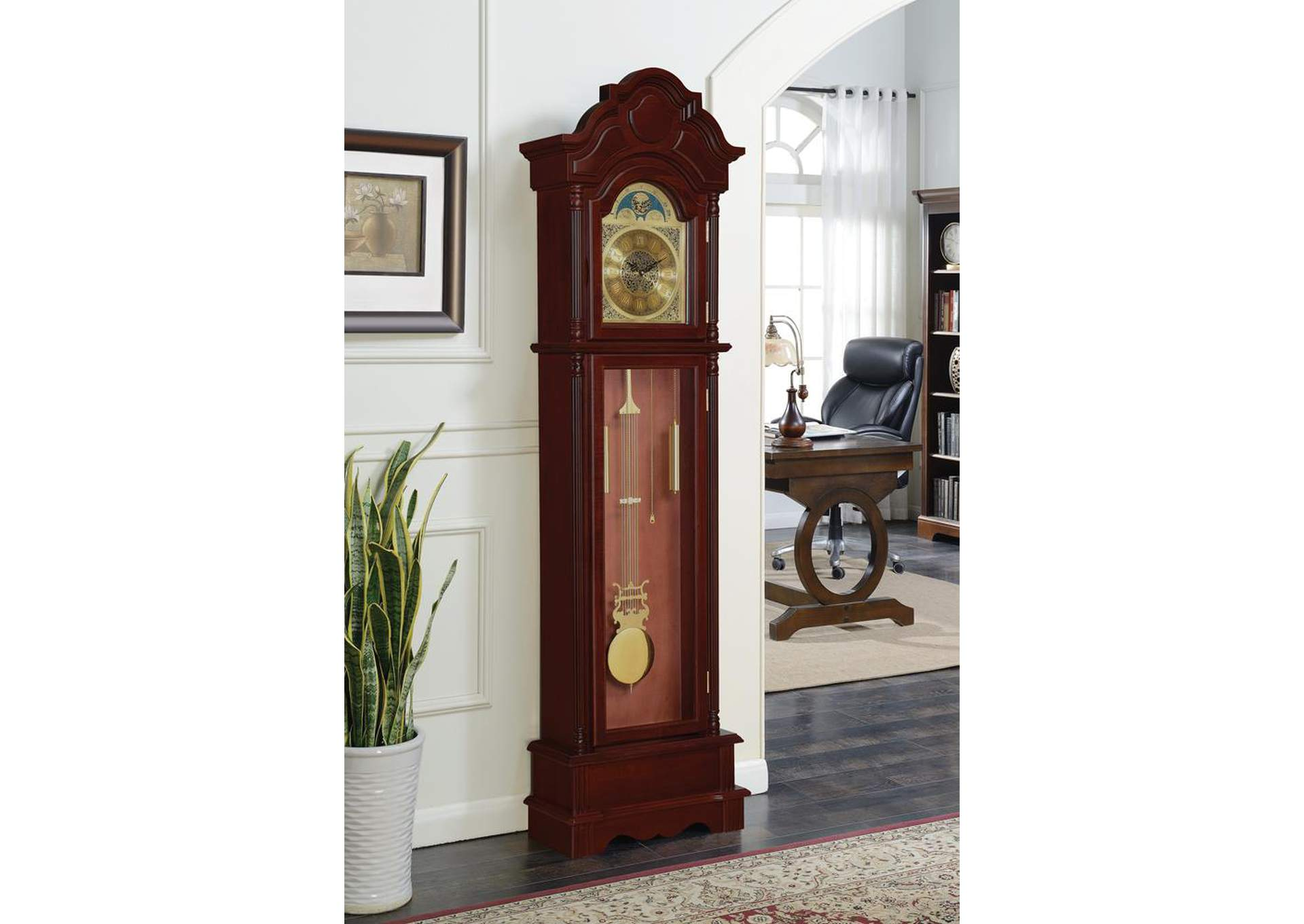 Paco Traditional Brown Red Grandfather Clock,Coaster Furniture