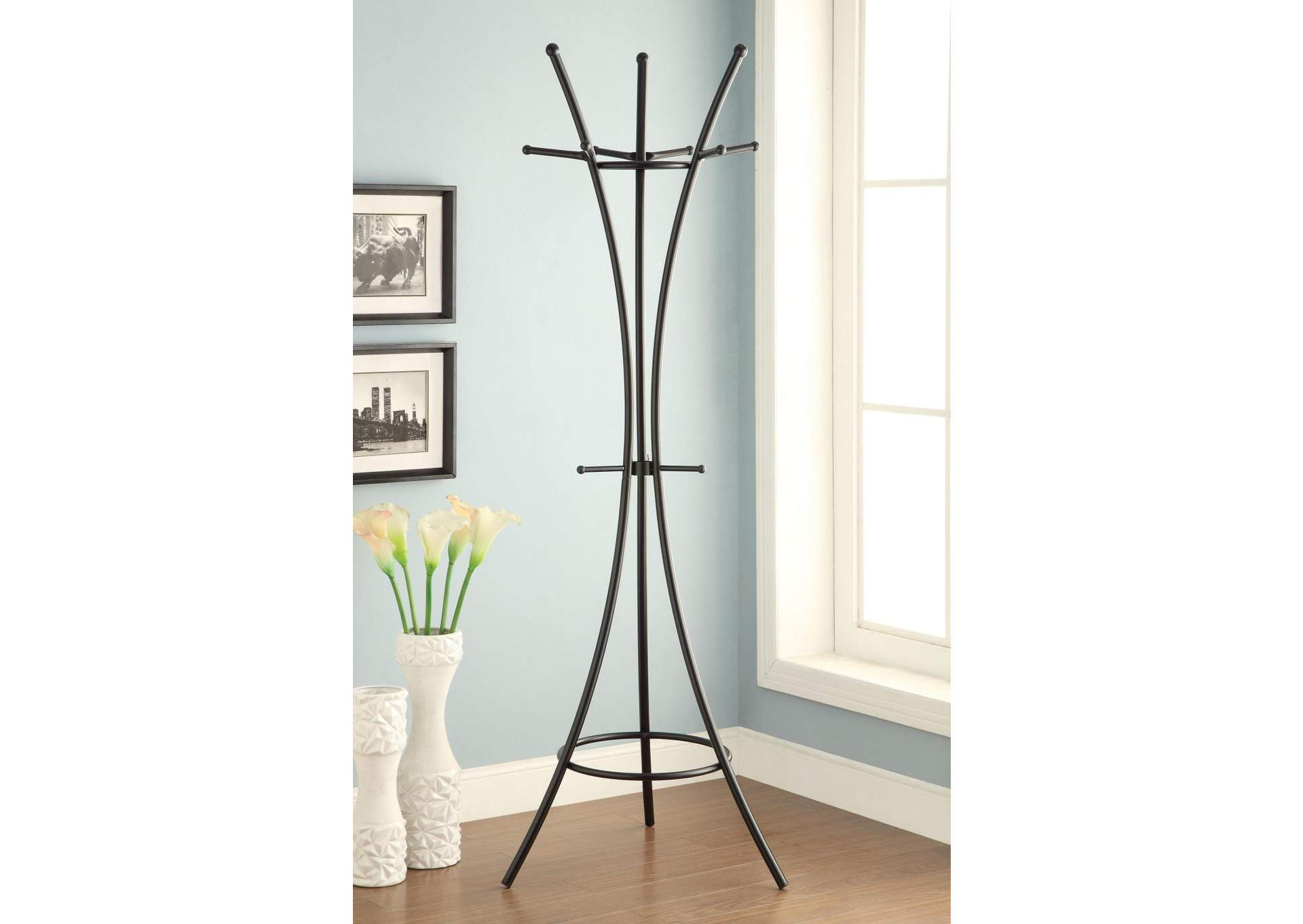 Cultured Pearl Modern Black Metal Coat Rack,Coaster Furniture