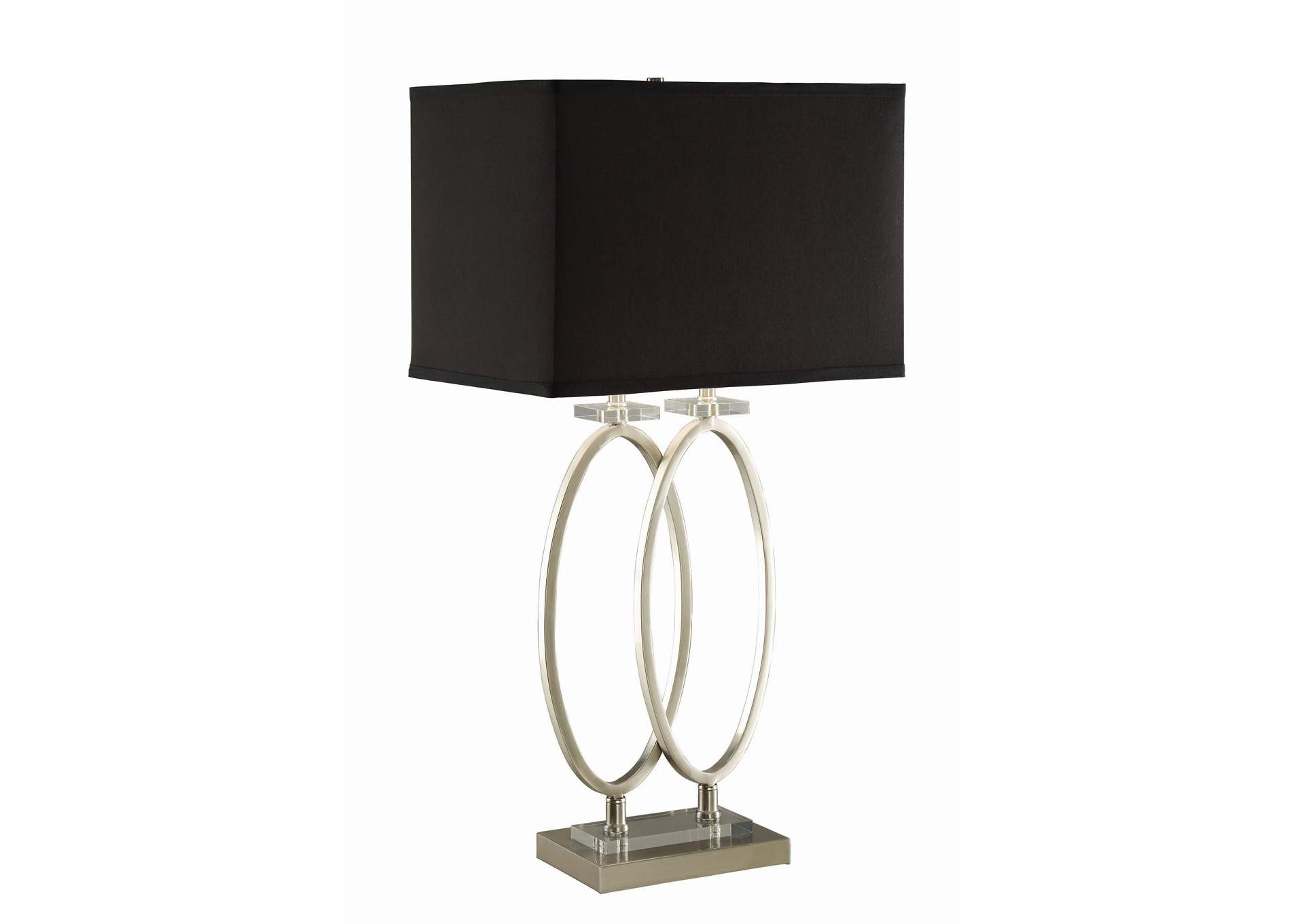 Nickel Transitional Nickel and Black Accent Lamp,Coaster Furniture