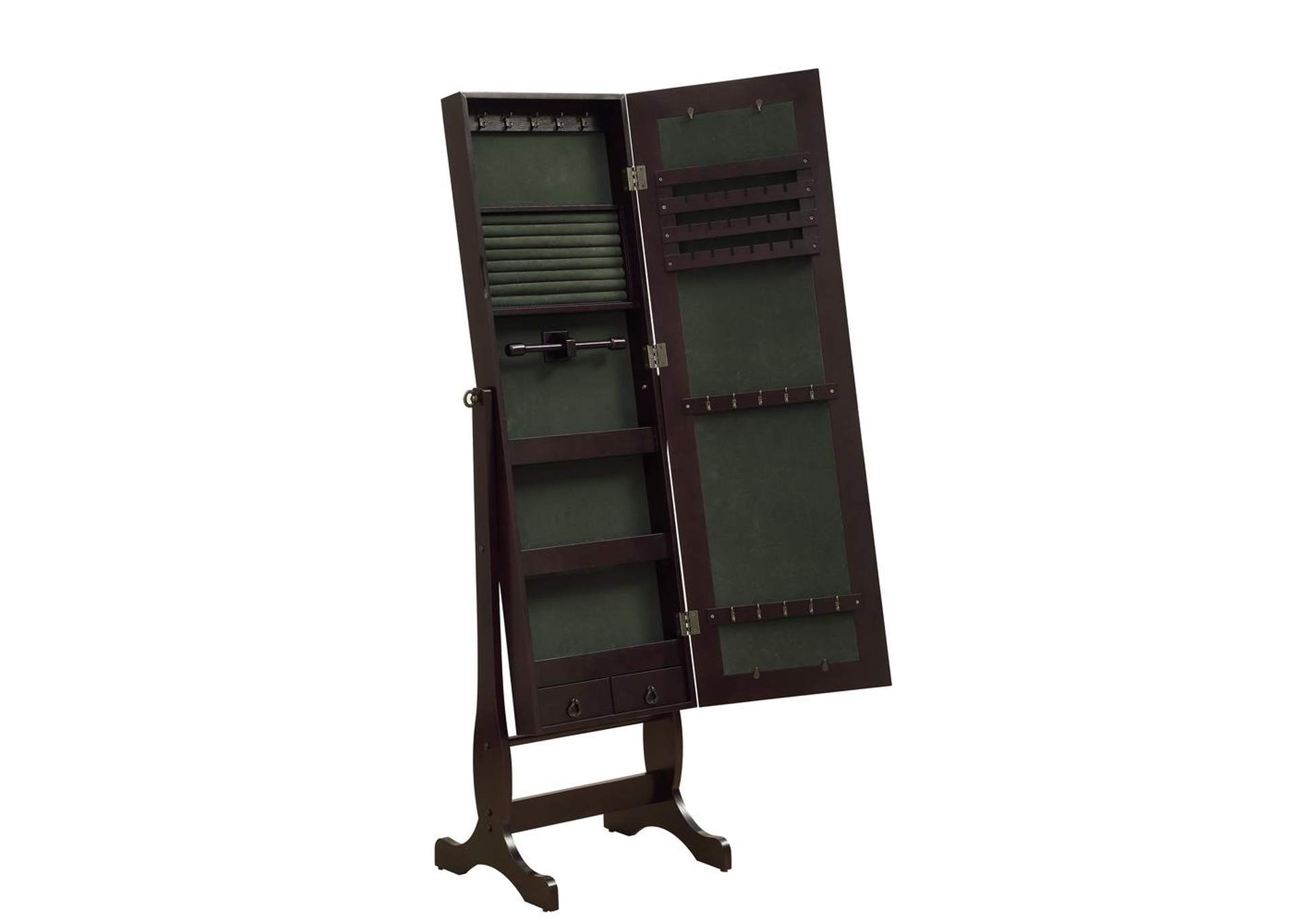 Cappuccino Cheval Mirror and Jewelry Armoire,Coaster Furniture