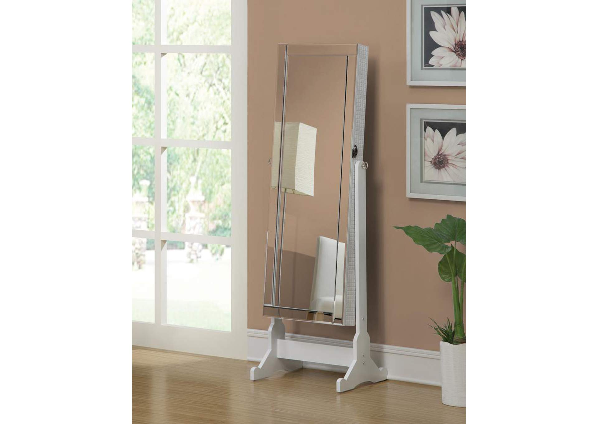 White Cheval Mirror and Jewelry Armoire,Coaster Furniture