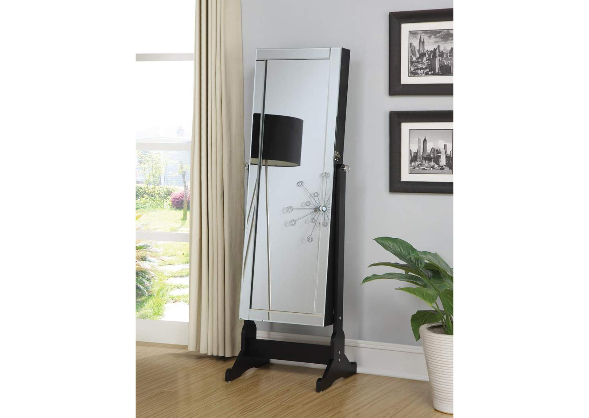 Black Cheval Mirror and Jewelry Armoire,Coaster Furniture