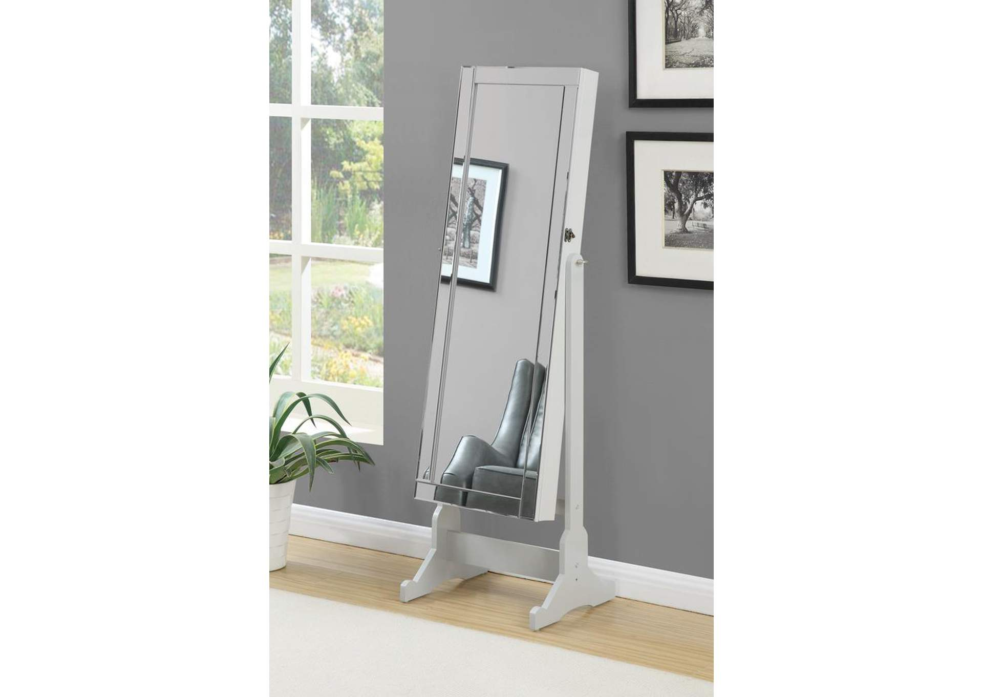 Dove Grey Cheval Mirror and Jewelry Armoire,Coaster Furniture