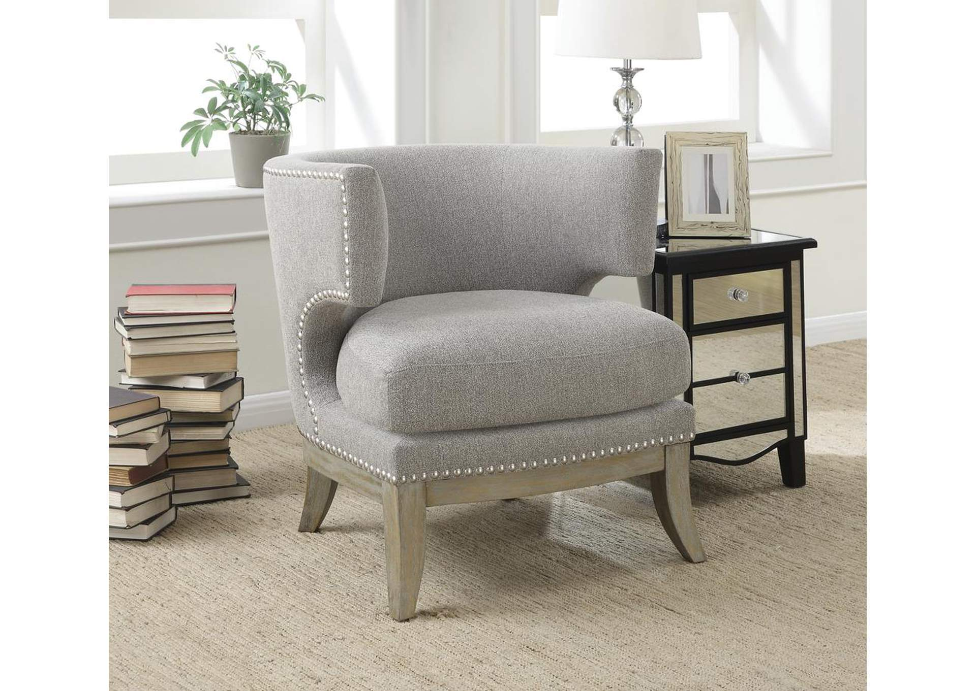 Weathered Grey Transitional Grey Exposed Wood Accent Chair,Coaster Furniture