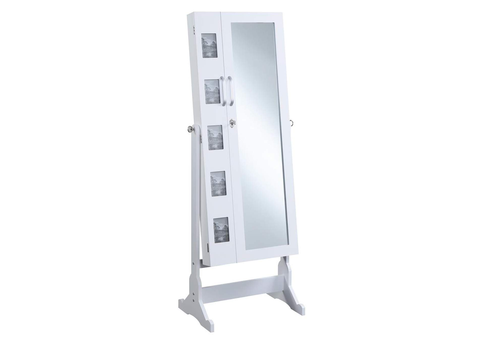 White Jewelry Cheval Mirror,Coaster Furniture