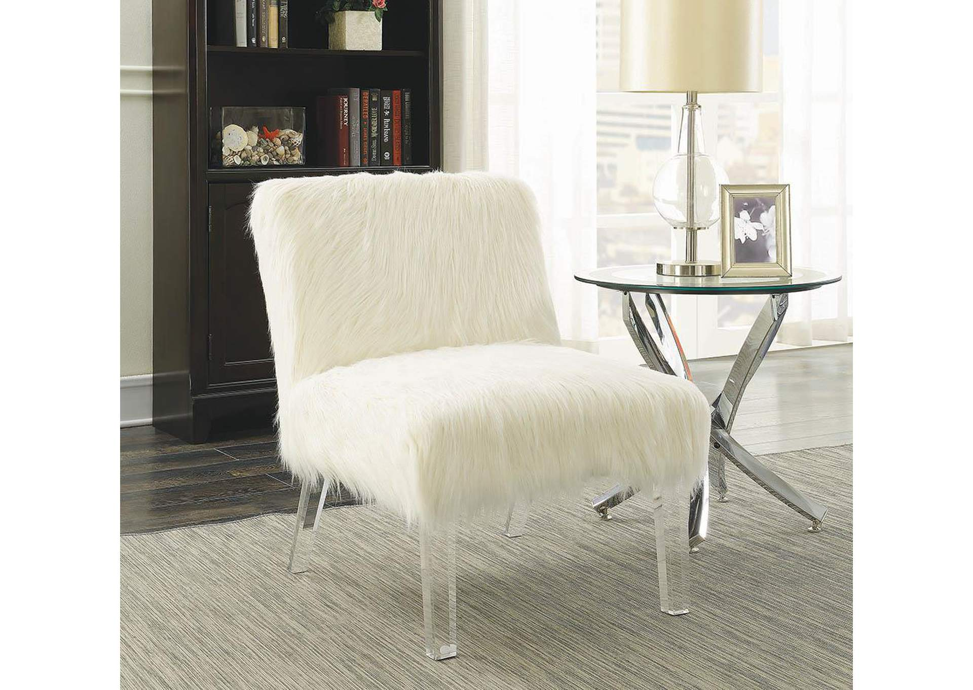 Clear Contemporary White Accent Chair,Coaster Furniture