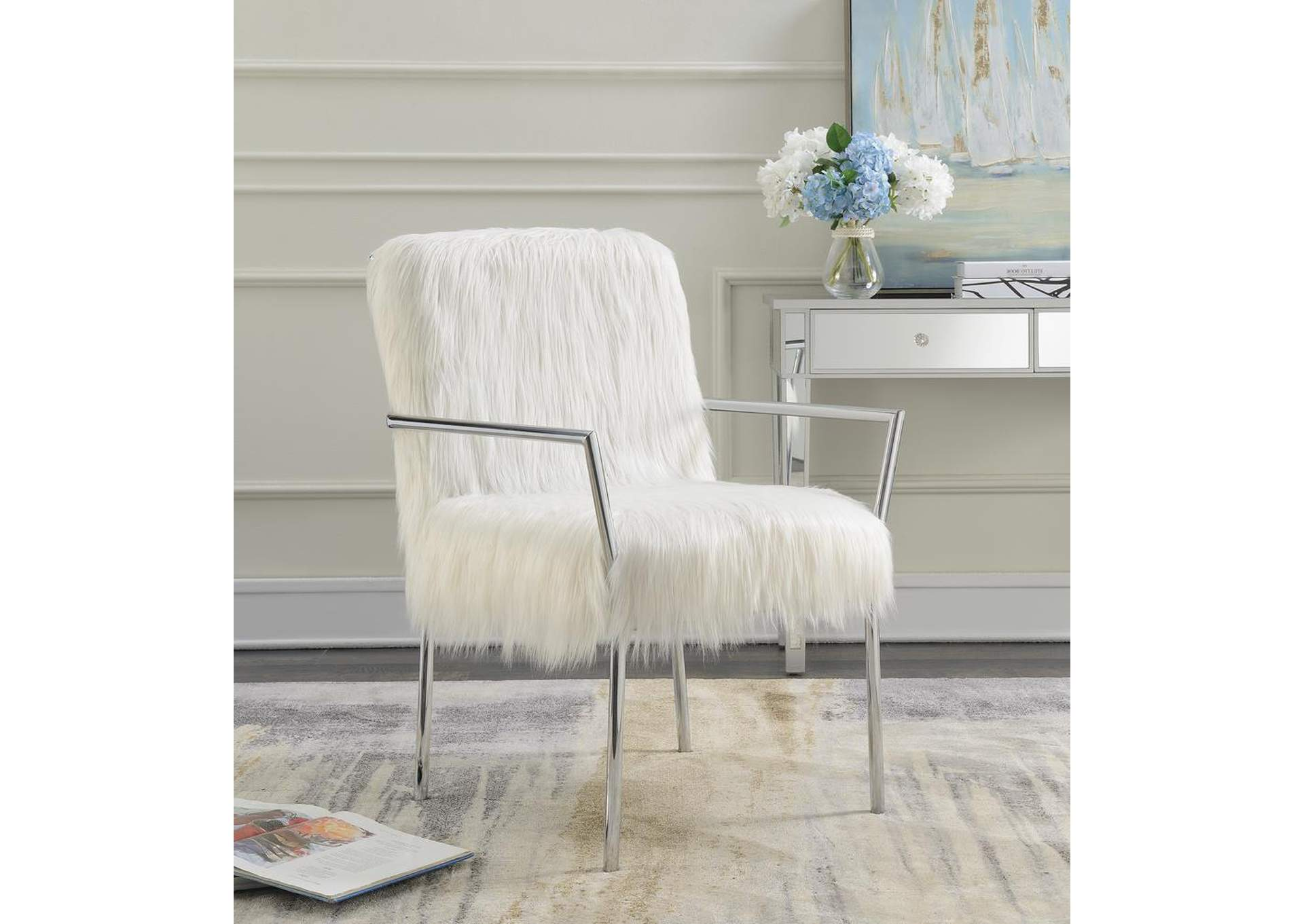 Swirl Contemporary White Accent Chair,Coaster Furniture