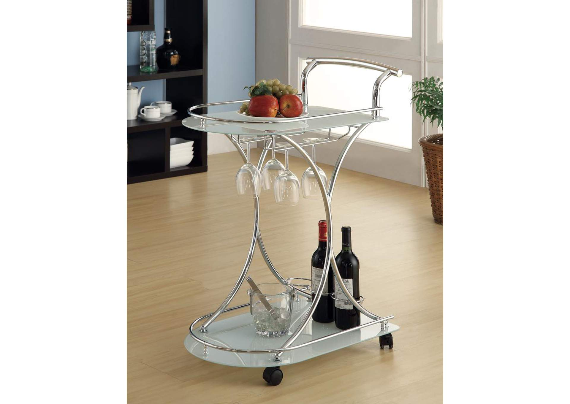 Sandal Contemporary Chrome Serving Cart,Coaster Furniture