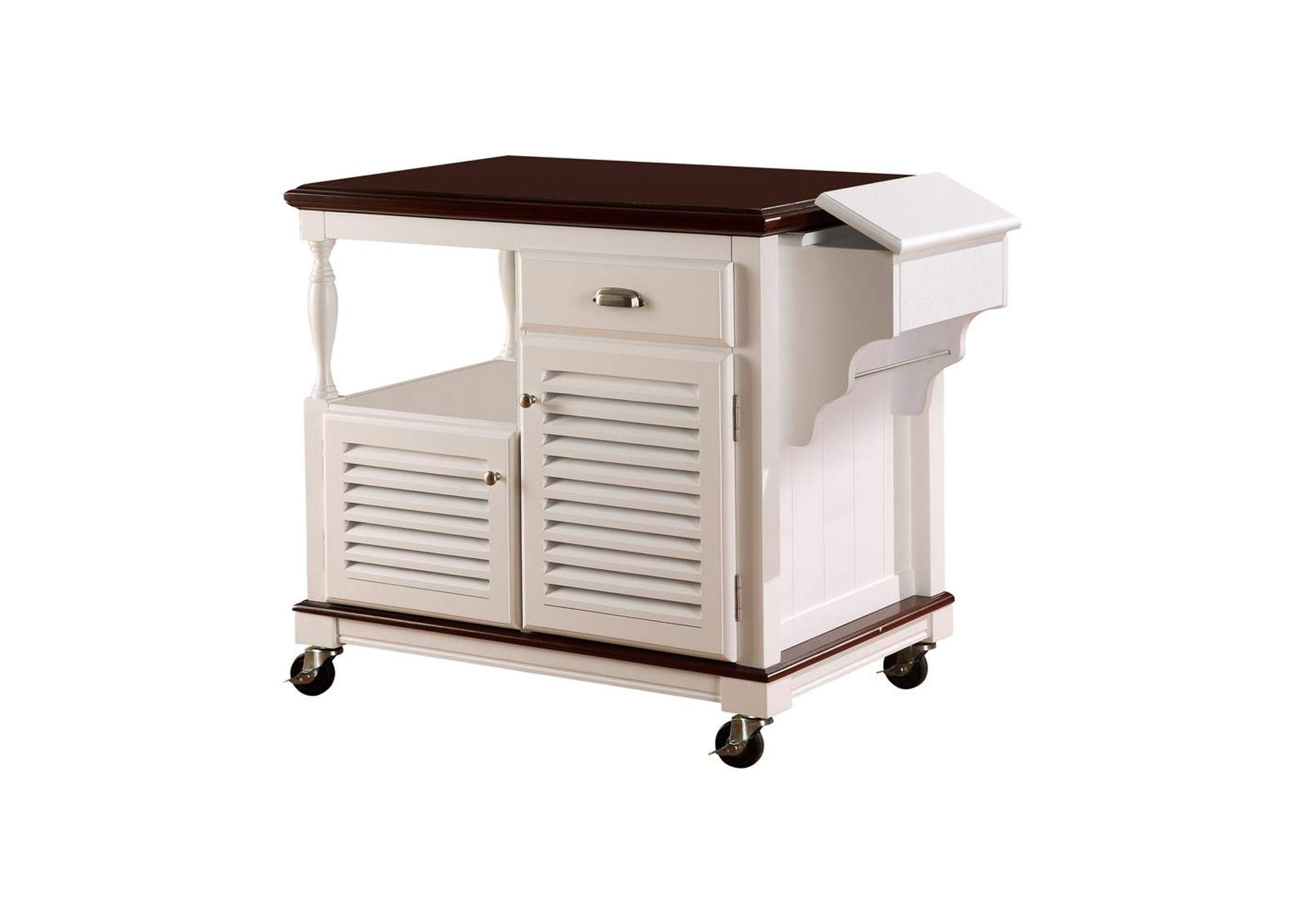 White Traditional White Kitchen Cart,Coaster Furniture