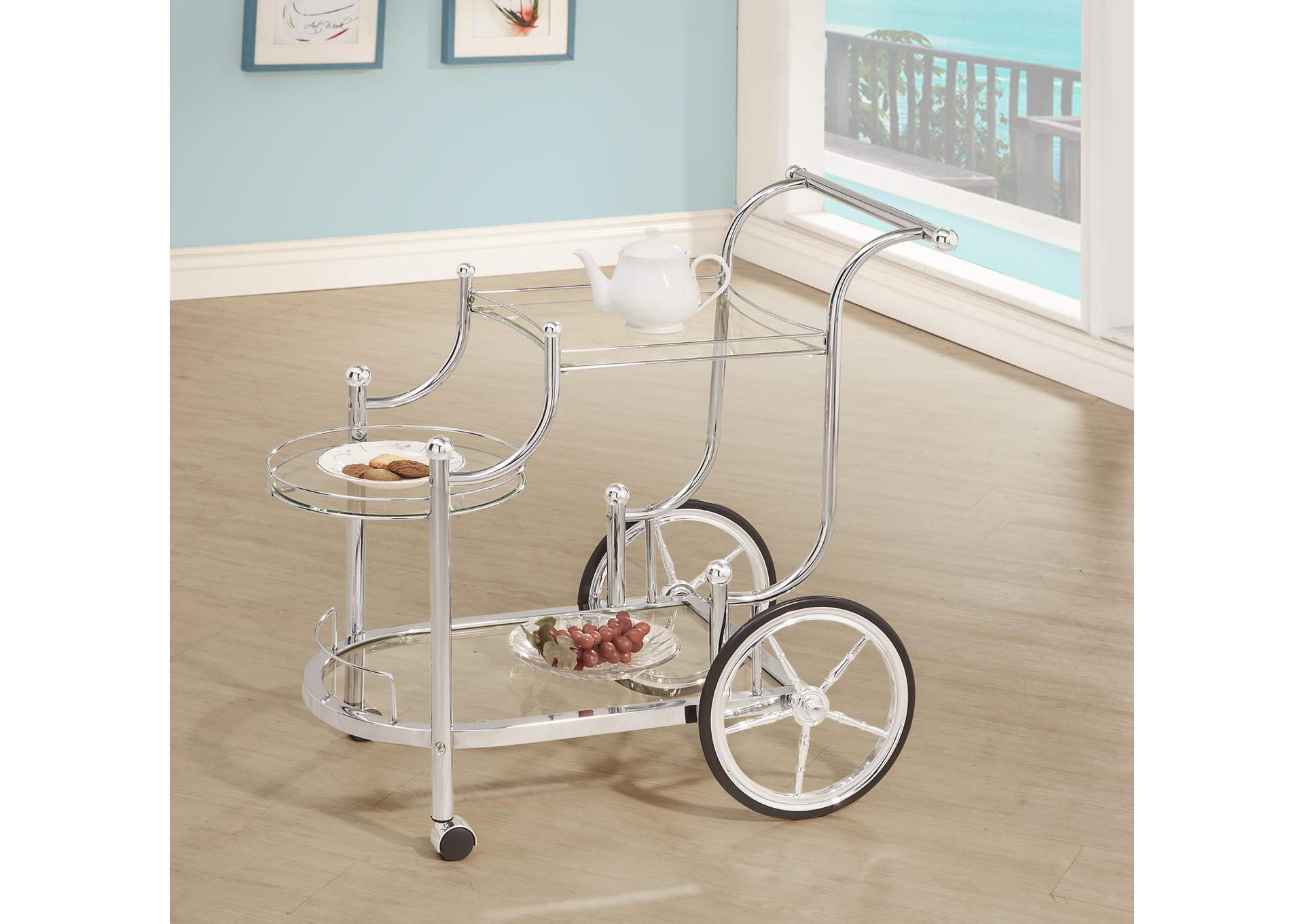 Ebb Traditional Chrome Serving Cart,Coaster Furniture