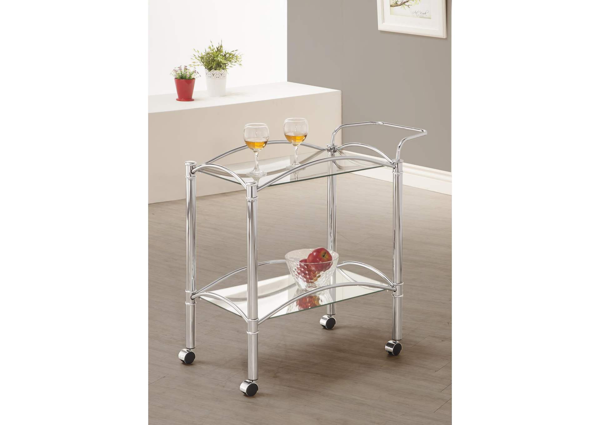 Cararra Traditional Chrome and Glass Serving Cart,Coaster Furniture