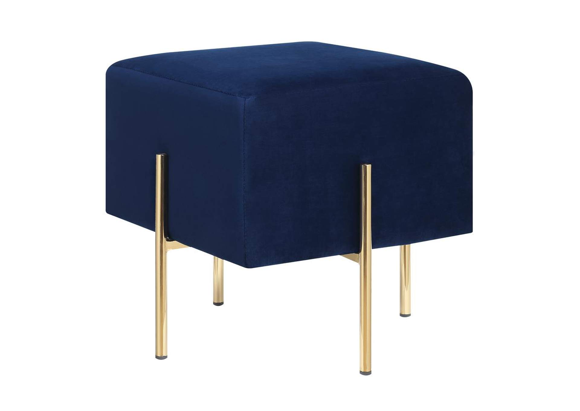 Big Stone Modern Blue Velvet Ottoman,Coaster Furniture