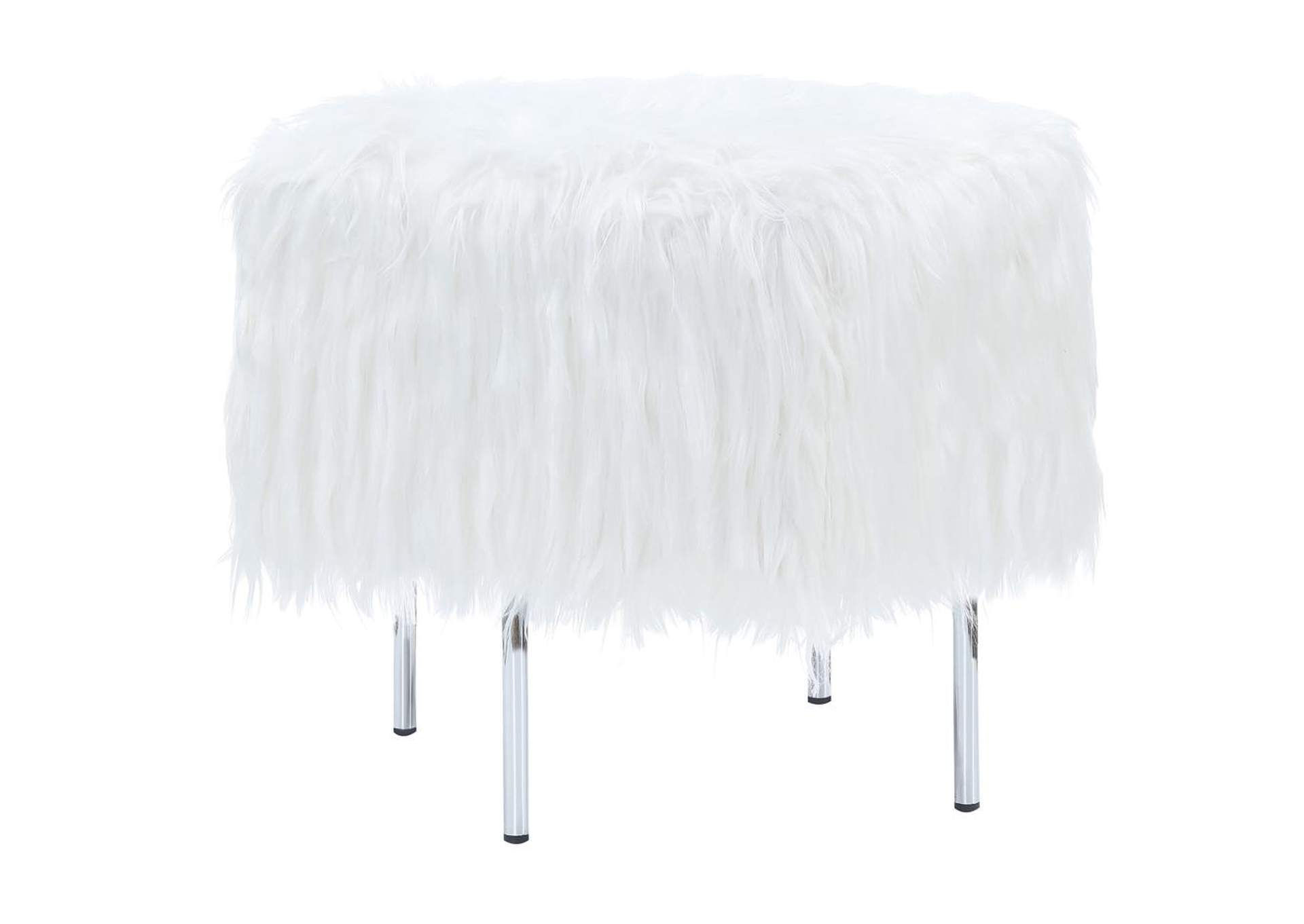 Geyser White Faux Sheepskin Ottoman,Coaster Furniture