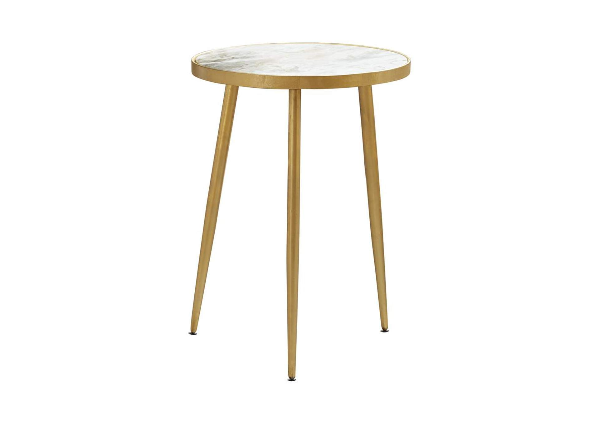 White Modern Marble and Gold Accent Table,Coaster Furniture