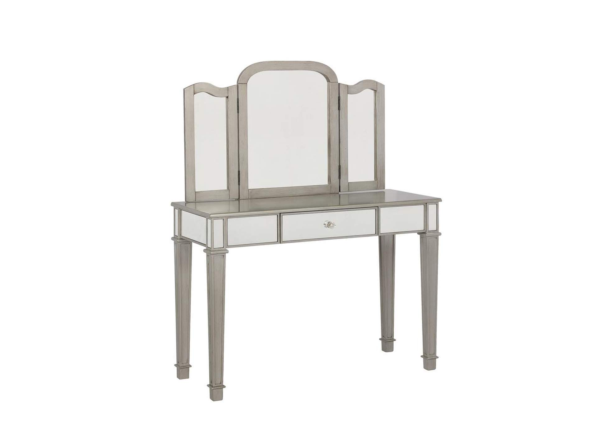 Cararra Contemporary Metallic Platinum Vanity Set,Coaster Furniture