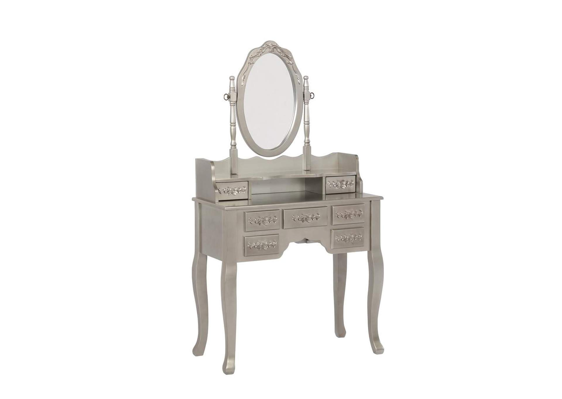 Zorba Contemporary Metallic Silver Vanity Set,Coaster Furniture
