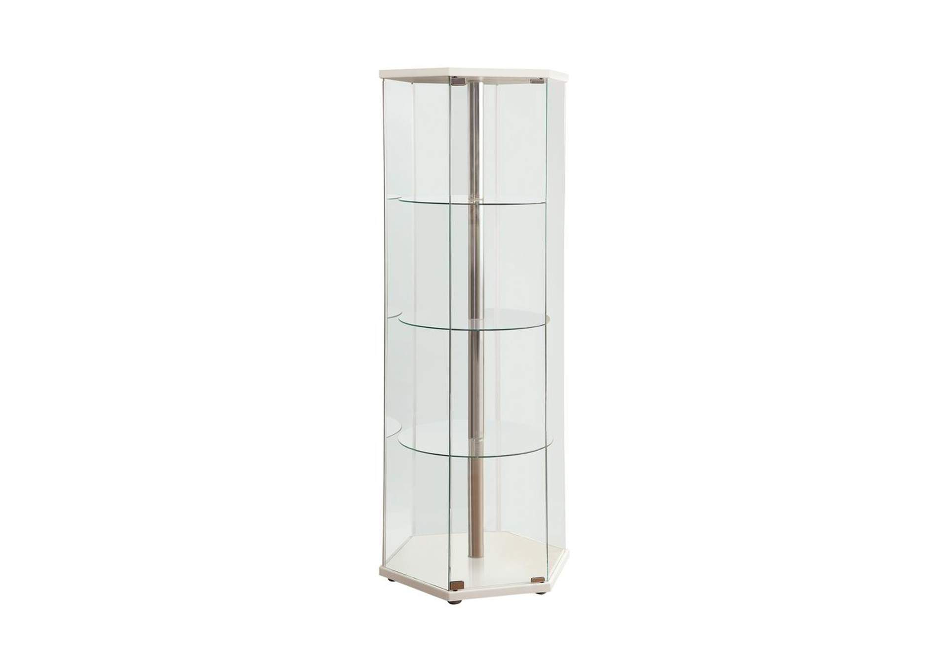 White Traditional Glass Hexagon Curio Cabinet,Coaster Furniture