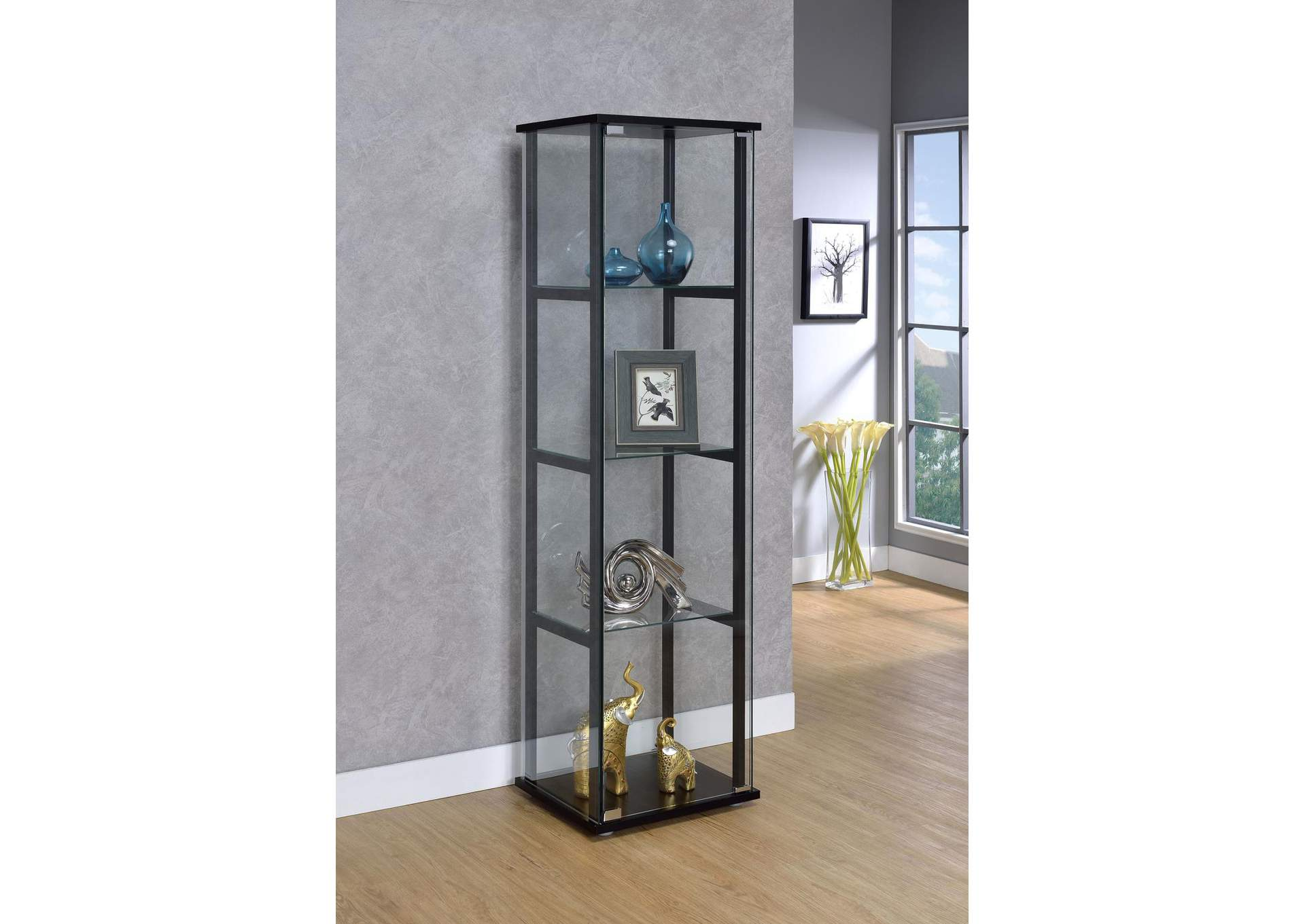 Black Contemporary Glass and Black Curio Cabinet,Coaster Furniture