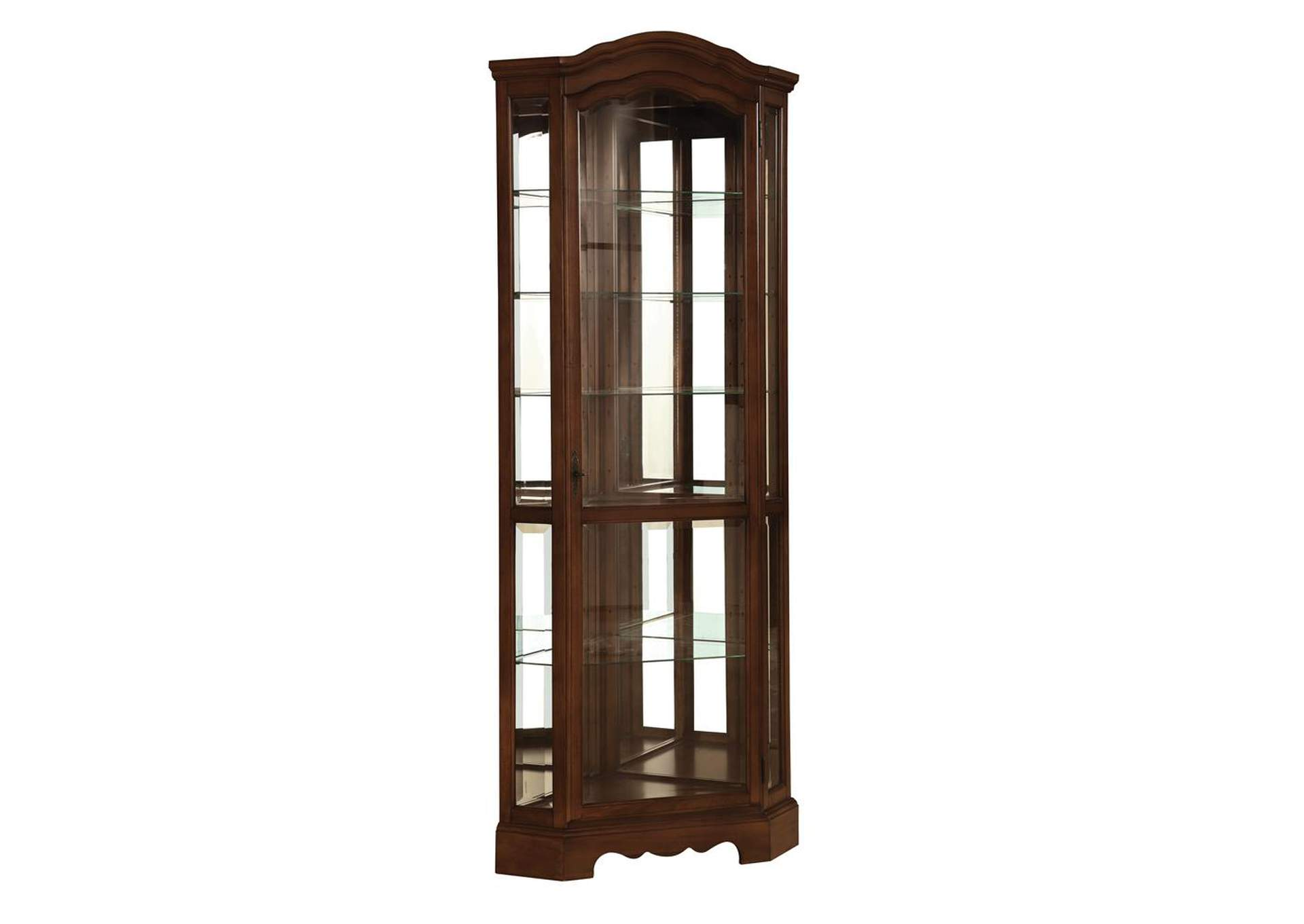 Cedar Traditional Rich Brown Corner Curio Cabinet,Coaster Furniture