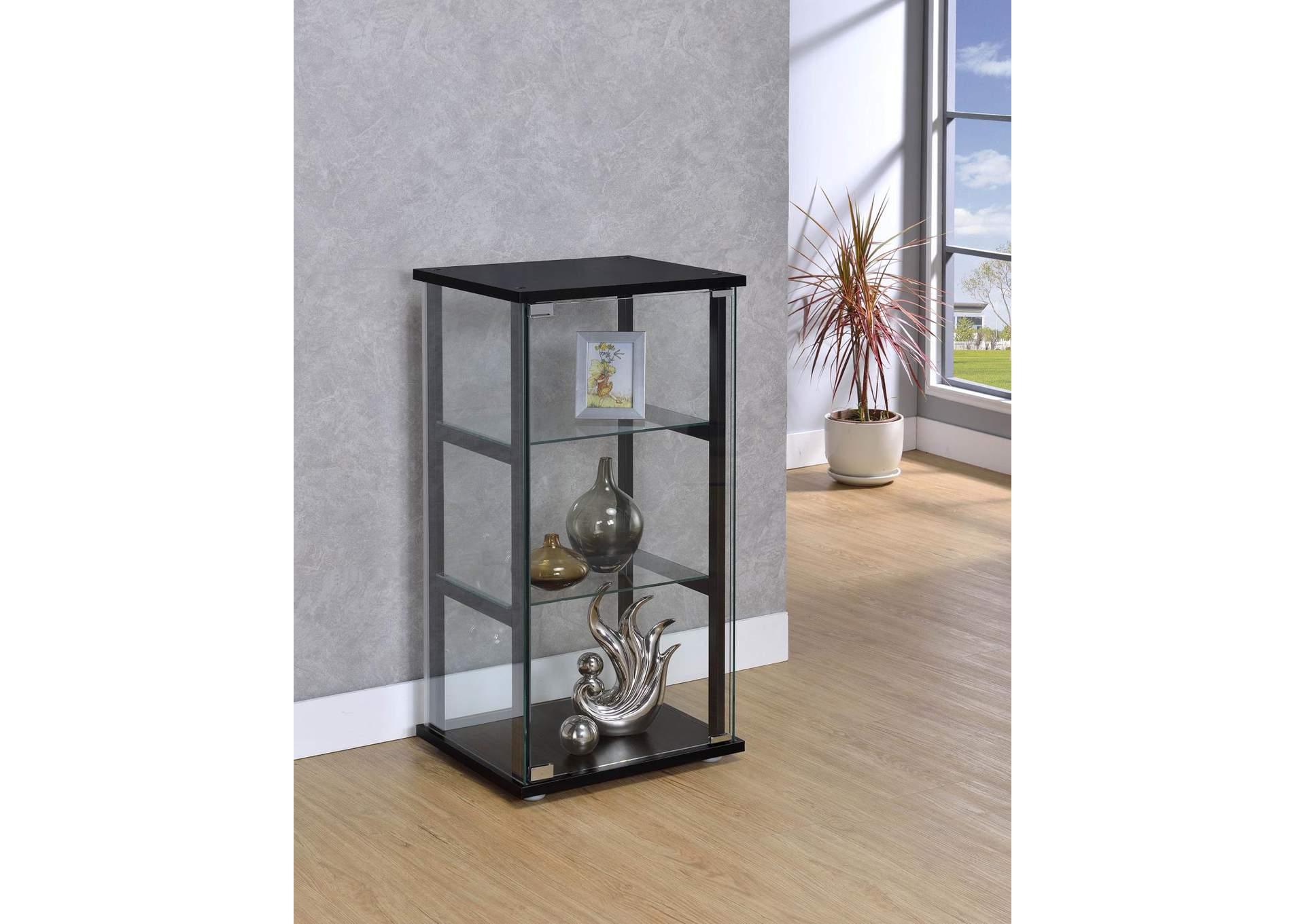 Black Contemporary Black And Glass Curio Cabinet The Furniture Loft