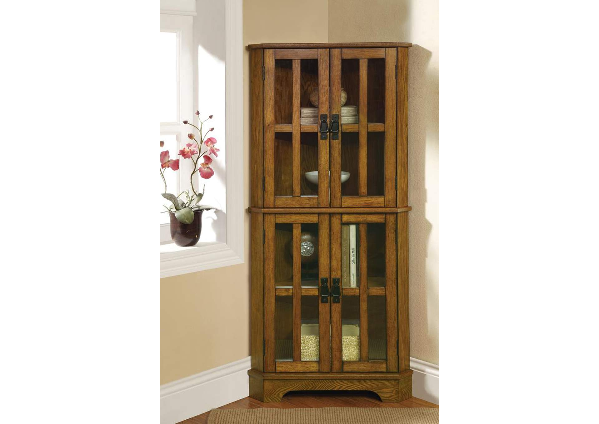 Indian Khaki Traditional Warm Brown Curio Cabinet,Coaster Furniture
