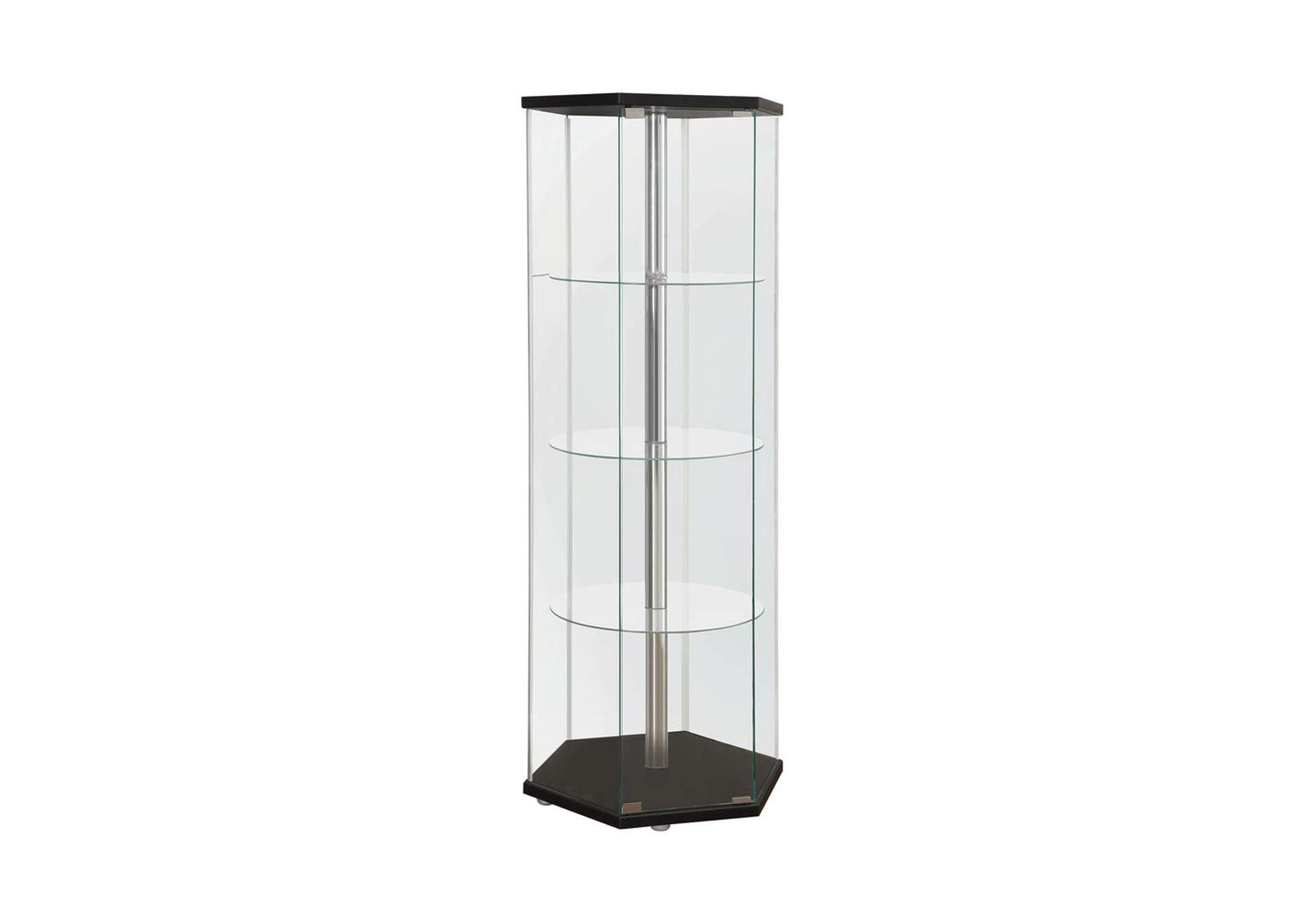 Black Traditional Glass Hexagon Curio Cabinet,Coaster Furniture