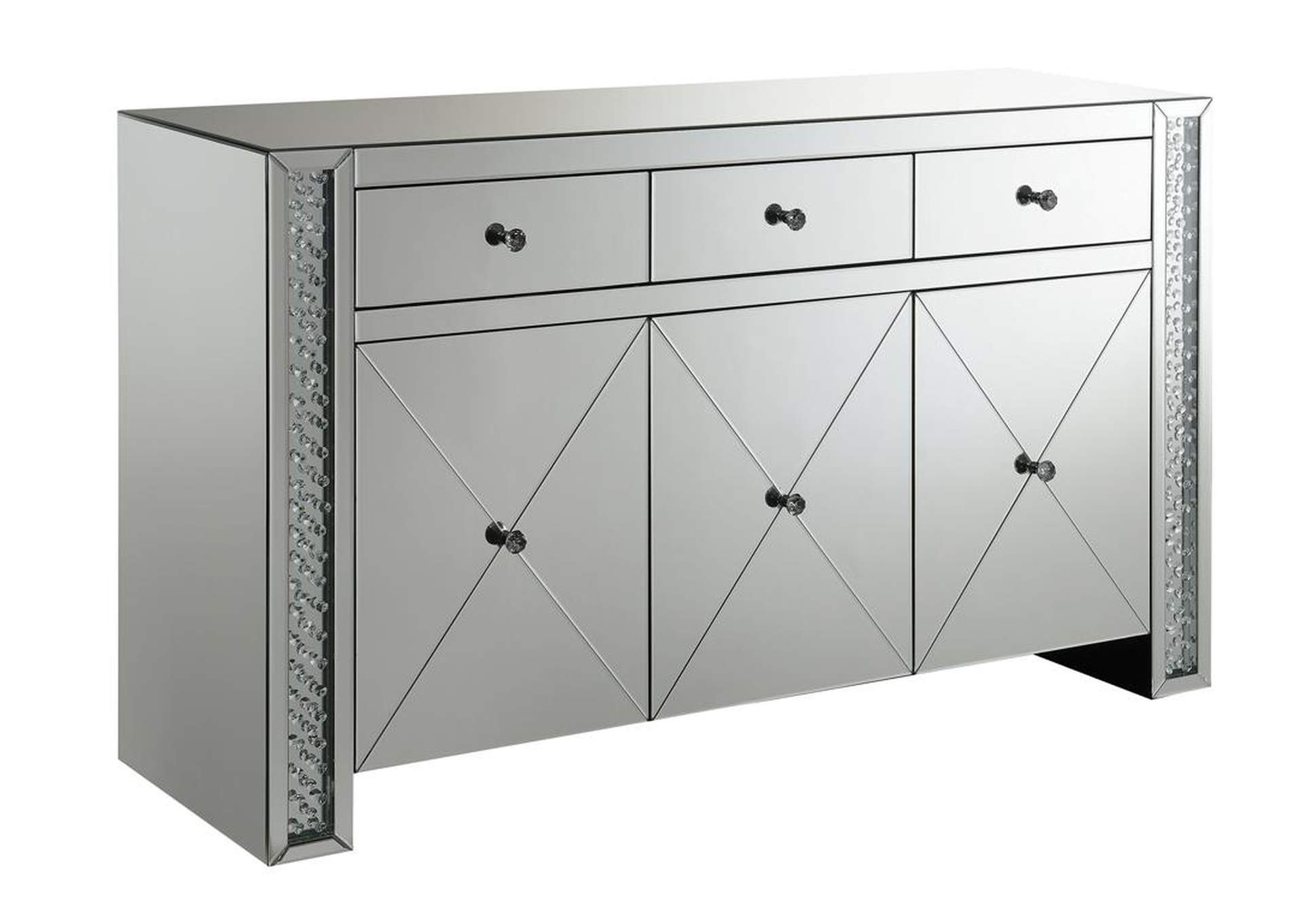Black / Silver Contemporary Silver and Black Cabinet,Coaster Furniture