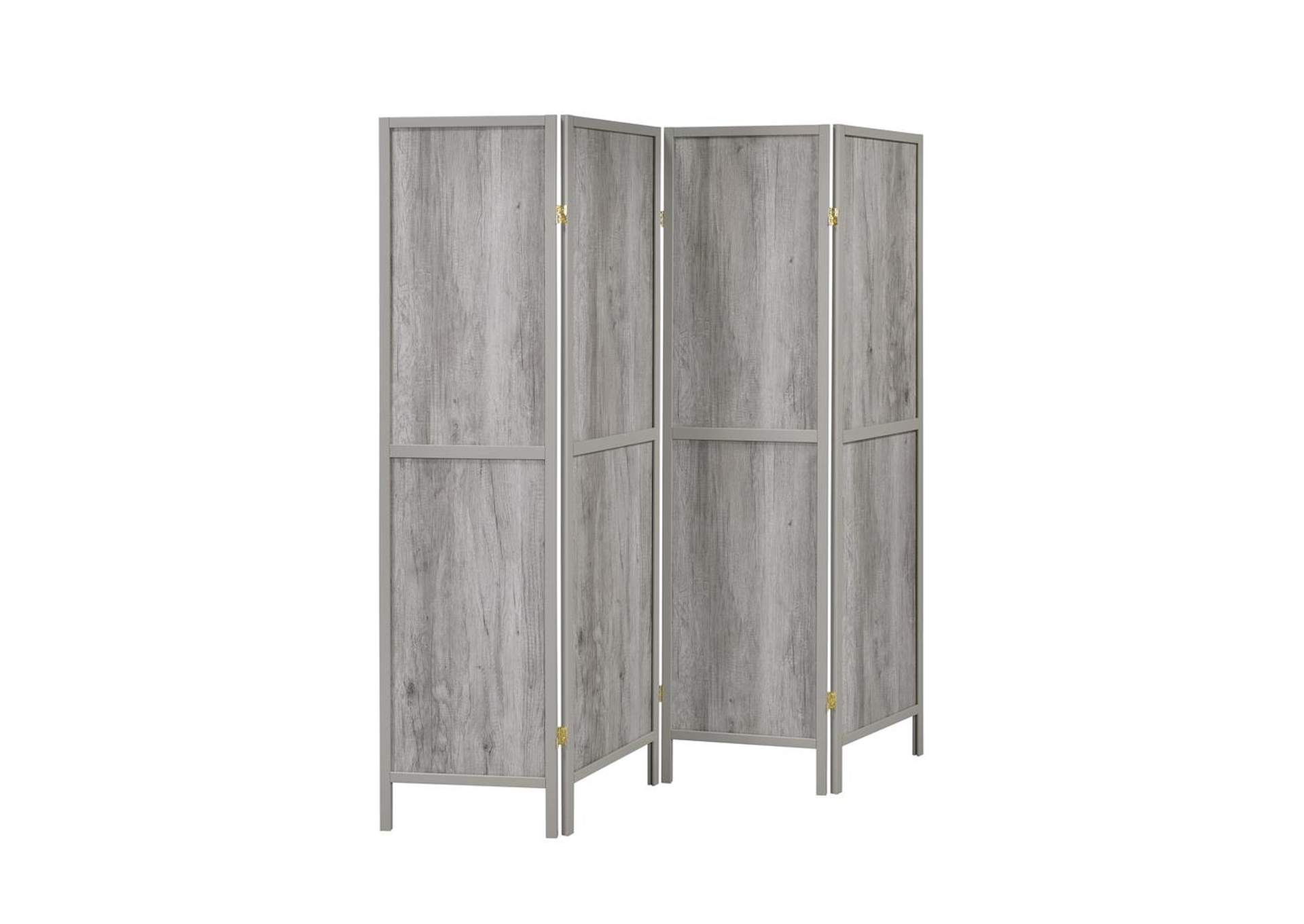 Grey Driftwood Rustic Grey Driftwood Four-Panel Screen,Coaster Furniture