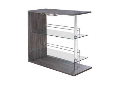 Image for Weathered Grey Two-Shelf Contemporary Weathered Grey Bar Table