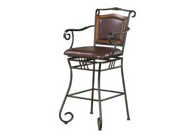 Image for Upholstered Bar Stool Brown And Bronze
