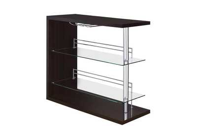 Image for Cappuccino High Gloss Two-Shelf Contemporary Bar Unit