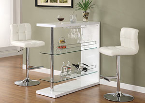 White High Gloss Two-Shelf Contemporary Bar Unit W/ Wine Holder,Coaster Furniture
