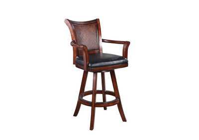 Image for Upholstered Swivel Bar Stool Black And Warm Brown