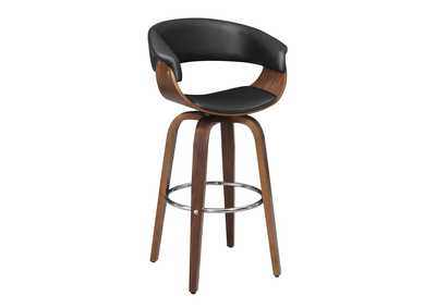 Upholstered Swivel Bar Stool Walnut And Black