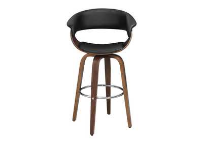 Upholstered Swivel Bar Stool Walnut And Black,Coaster Furniture